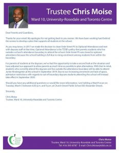 Letter from Trustee Moise